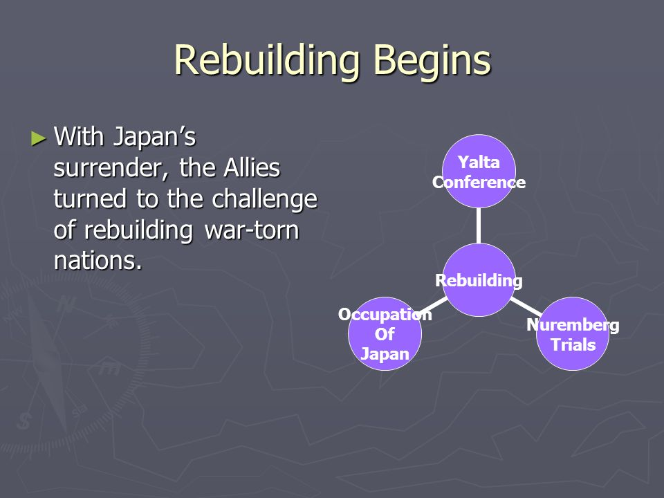 Rebuilding Begins With Japans surrender, the Allies turned to the challenge of rebuilding war-torn nations. With Japans surrender, the Allies turned t