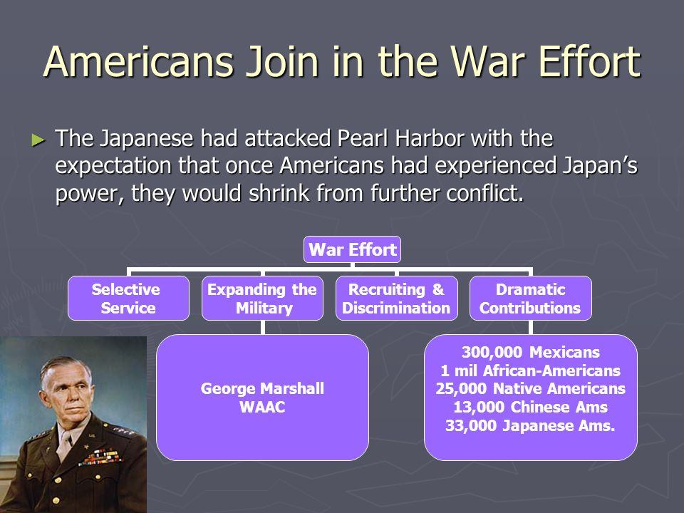 Americans Join in the War Effort The Japanese had attacked Pearl Harbor with the expectation that once Americans had experienced Japans power, they wo