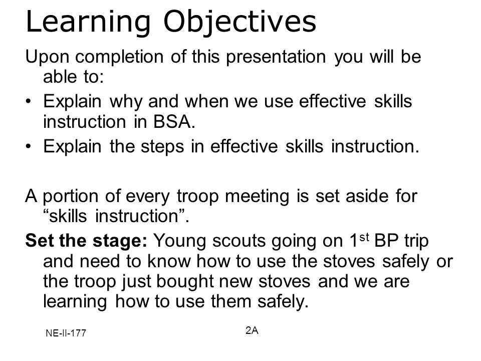 NE-II-177 Learning Objectives Upon completion of this presentation you will be able to: Explain why and when we use effective skills instruction in BS