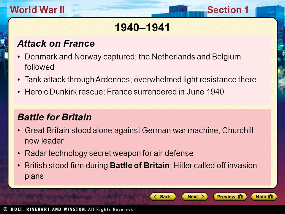 World War IISection 1 Attack on France Denmark and Norway captured; the Netherlands and Belgium followed Tank attack through Ardennes; overwhelmed lig