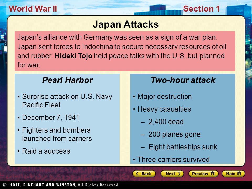 World War IISection 1 Japans alliance with Germany was seen as a sign of a war plan. Japan sent forces to Indochina to secure necessary resources of o