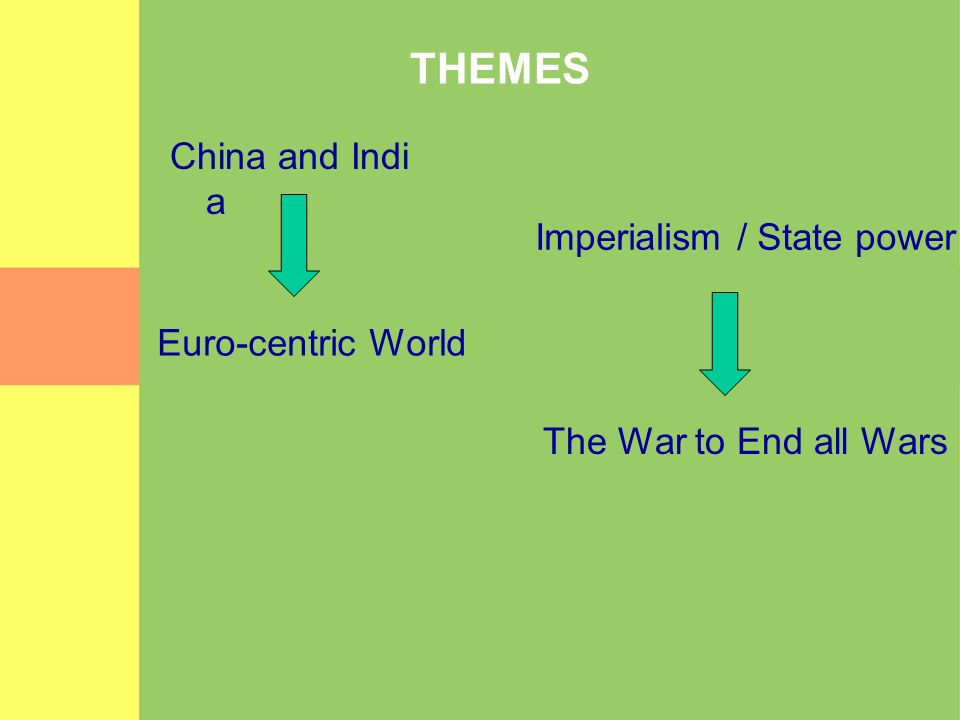 THEMES China and Indi a Euro-centric World Imperialism / State power The War to End all Wars
