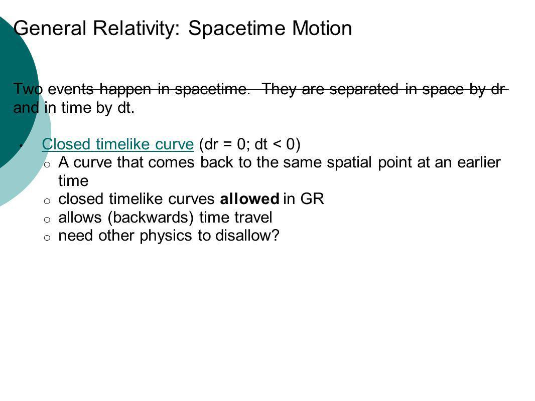 General Relativity: Spacetime Motion Two events happen in spacetime. They are separated in space by dr and in time by dt. Closed timelike curve (dr =
