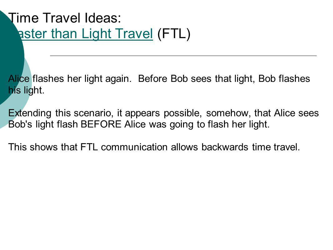 Time Travel Ideas: Faster than Light Travel (FTL) Faster than Light Travel Alice flashes her light again. Before Bob sees that light, Bob flashes his