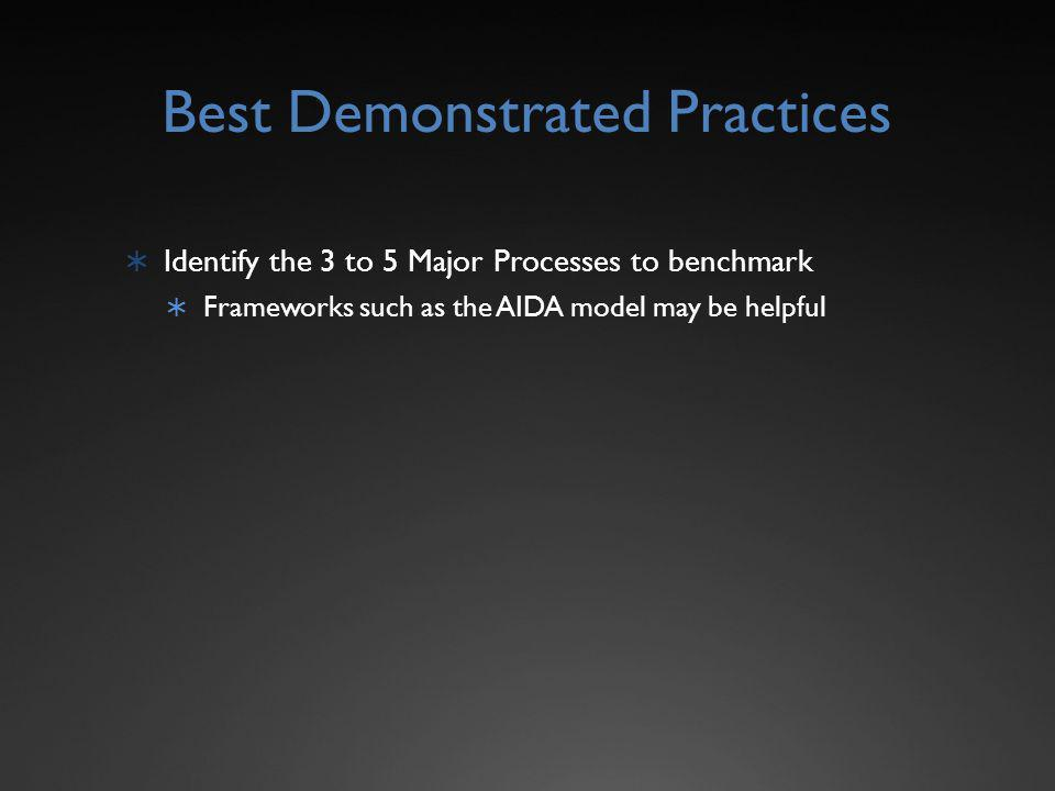 Best Demonstrated Practices Identify the 3 to 5 Major Processes to benchmark Frameworks such as the AIDA model may be helpful