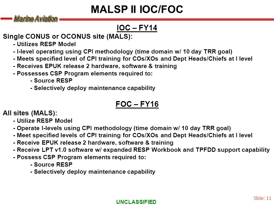UNCLASSIFIED IOC – FY14 Single CONUS or OCONUS site (MALS): - Utilizes RESP Model - I-level operating using CPI methodology (time domain w/ 10 day TRR