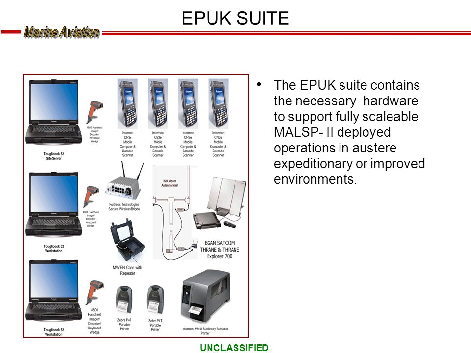 UNCLASSIFIED EPUK SUITE The EPUK suite contains the necessary hardware to support fully scaleable MALSP- II deployed operations in austere expeditiona