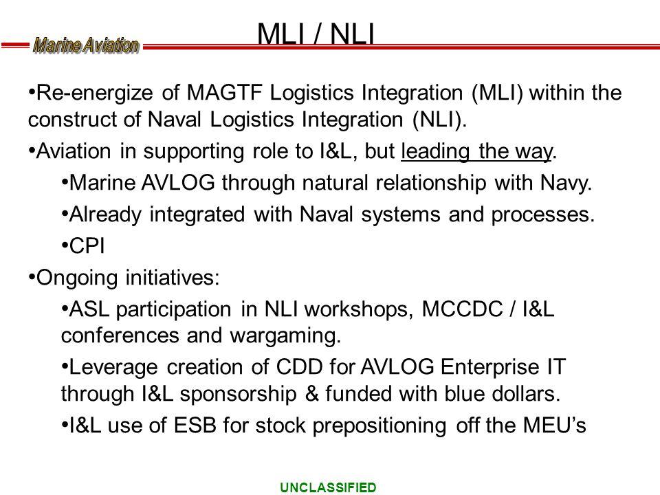UNCLASSIFIED MLI / NLI Re-energize of MAGTF Logistics Integration (MLI) within the construct of Naval Logistics Integration (NLI). Aviation in support