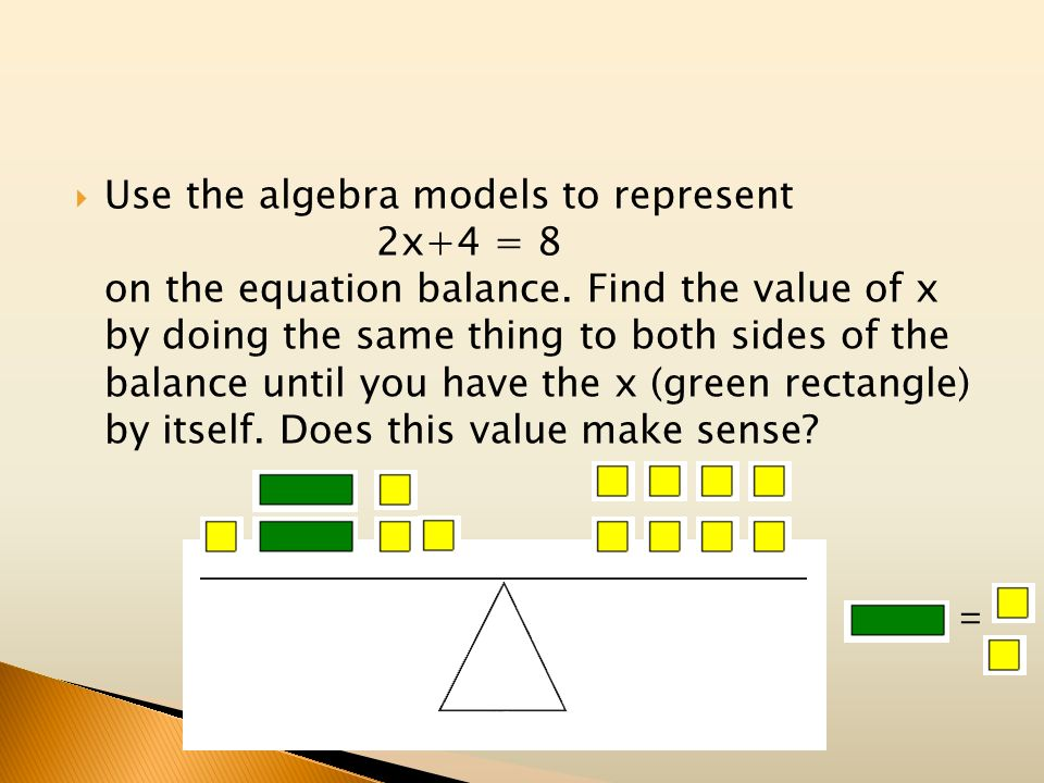 Use the algebra models to represent 2x+4 = 8 on the equation balance. Find the value of x by doing the same thing to both sides of the balance until y