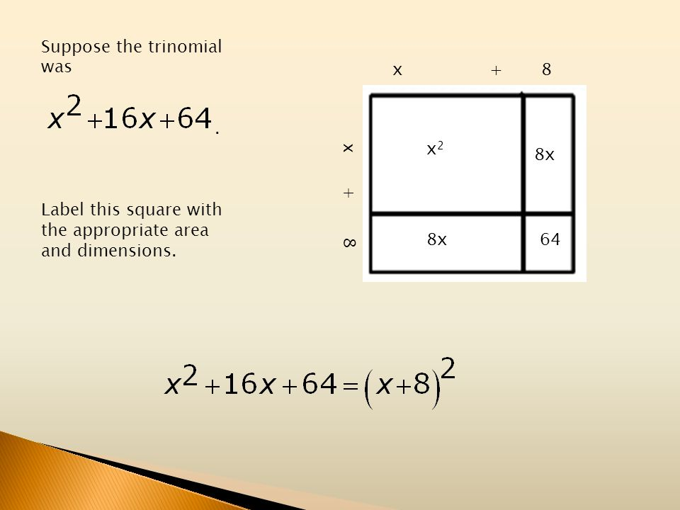 Suppose the trinomial was. Label this square with the appropriate area and dimensions. x2x2 8x 64 x + 8