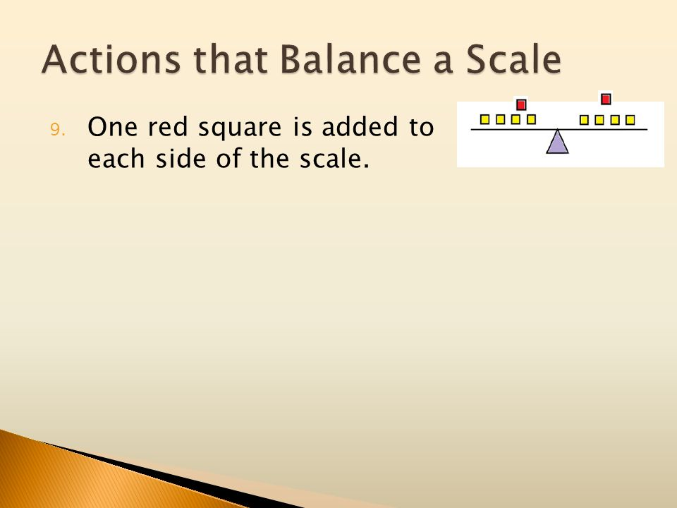 9. One red square is added to each side of the scale.