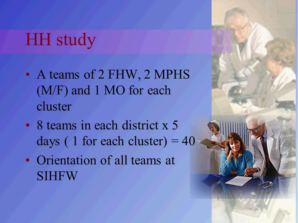 HH study A teams of 2 FHW, 2 MPHS (M/F) and 1 MO for each cluster 8 teams in each district x 5 days ( 1 for each cluster) = 40 Orientation of all teams at SIHFW