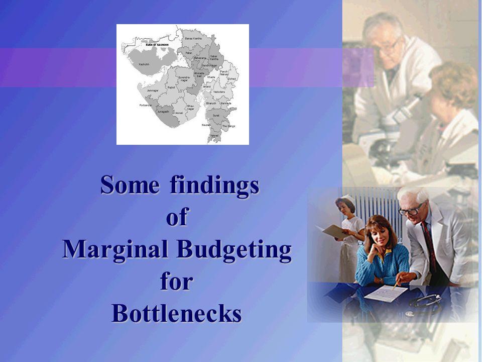 Some findings of Marginal Budgeting for Bottlenecks