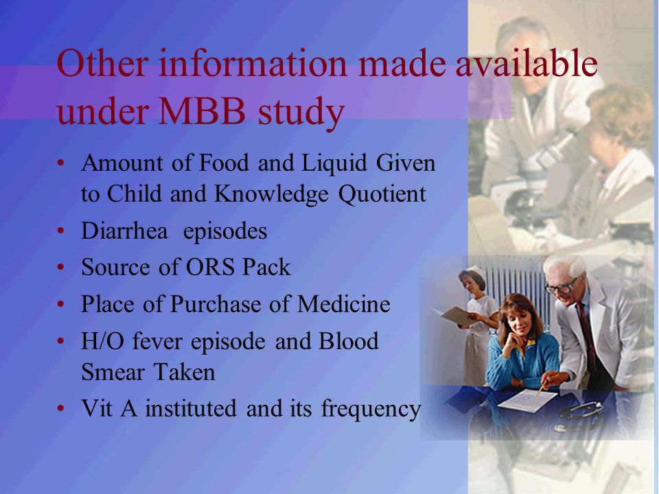 Other information made available under MBB study Amount of Food and Liquid Given to Child and Knowledge Quotient Diarrhea episodes Source of ORS Pack Place of Purchase of Medicine H/O fever episode and Blood Smear Taken Vit A instituted and its frequency