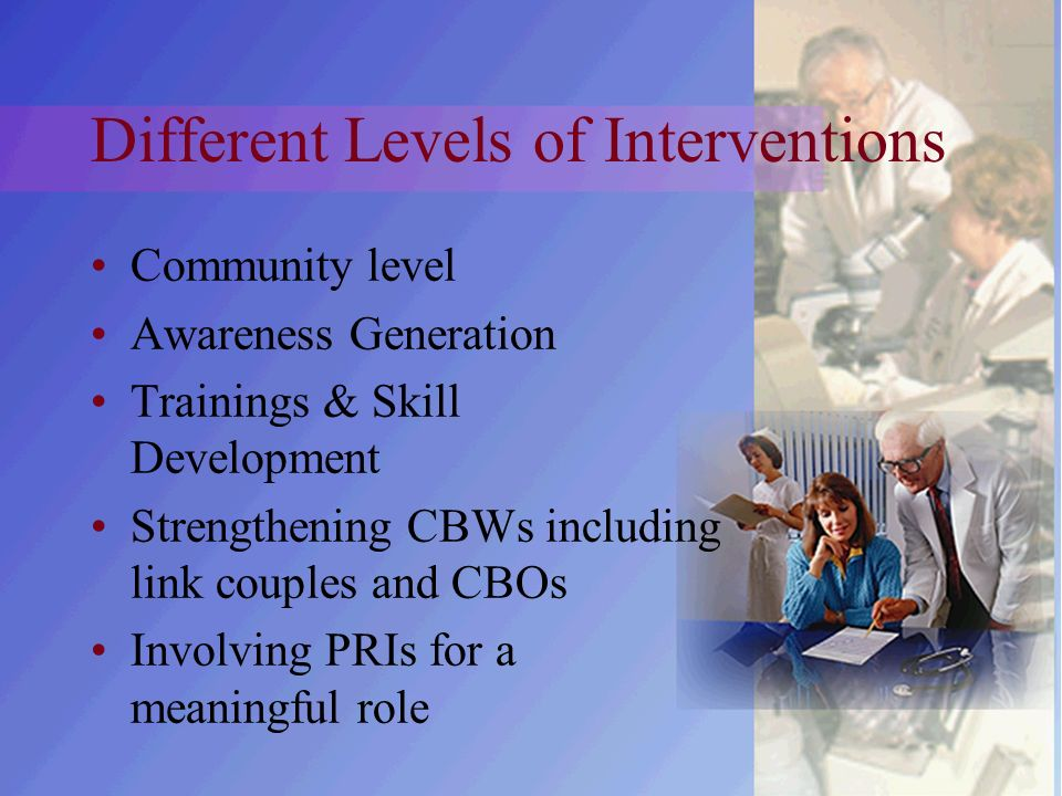 Different Levels of Interventions Community level Awareness Generation Trainings & Skill Development Strengthening CBWs including link couples and CBOs Involving PRIs for a meaningful role
