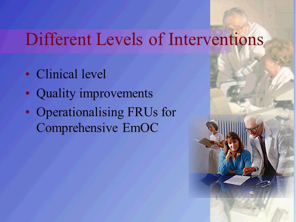 Different Levels of Interventions Clinical level Quality improvements Operationalising FRUs for Comprehensive EmOC