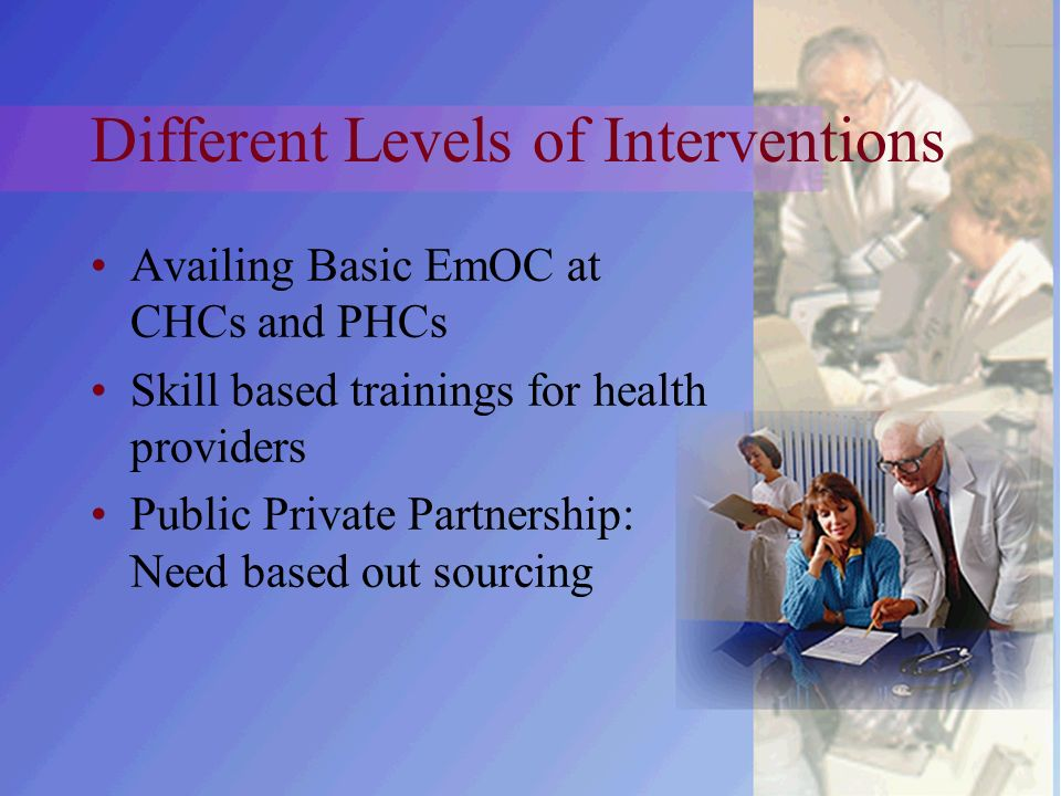 Different Levels of Interventions Availing Basic EmOC at CHCs and PHCs Skill based trainings for health providers Public Private Partnership: Need based out sourcing