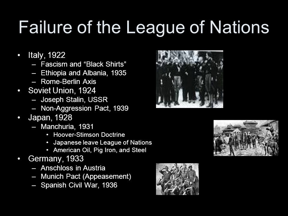 Failure of the League of Nations Italy, 1922 –Fascism and Black Shirts –Ethiopia and Albania, 1935 –Rome-Berlin Axis Soviet Union, 1924 –Joseph Stalin, USSR –Non-Aggression Pact, 1939 Japan, 1928 –Manchuria, 1931 Hoover-Stimson Doctrine Japanese leave League of Nations American Oil, Pig Iron, and Steel Germany, 1933 –Anschloss in Austria –Munich Pact (Appeasement) –Spanish Civil War, 1936