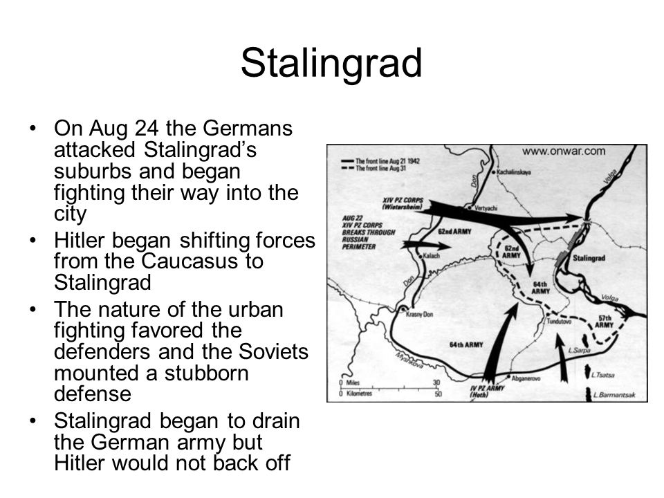 Stalingrad On June 28 the Germans launched their summer offensive The Germans made good headway with one advance moving east toward Stalingrad and the