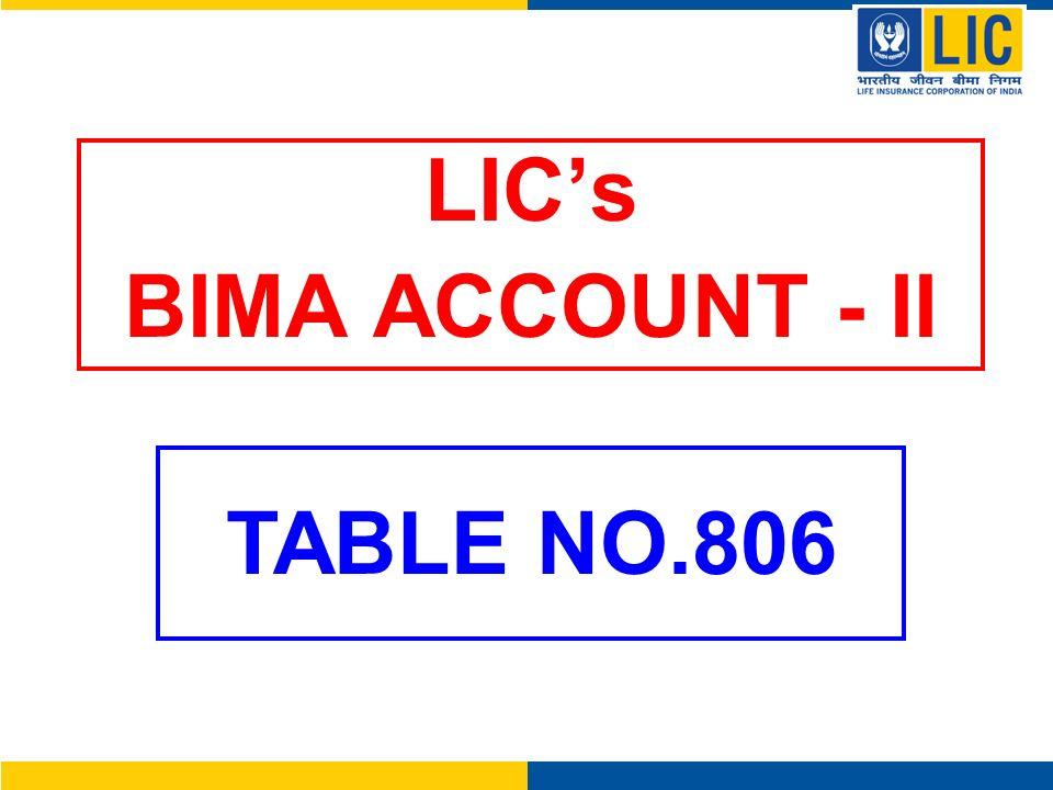 LICs BIMA ACCOUNT - II TABLE NO.806