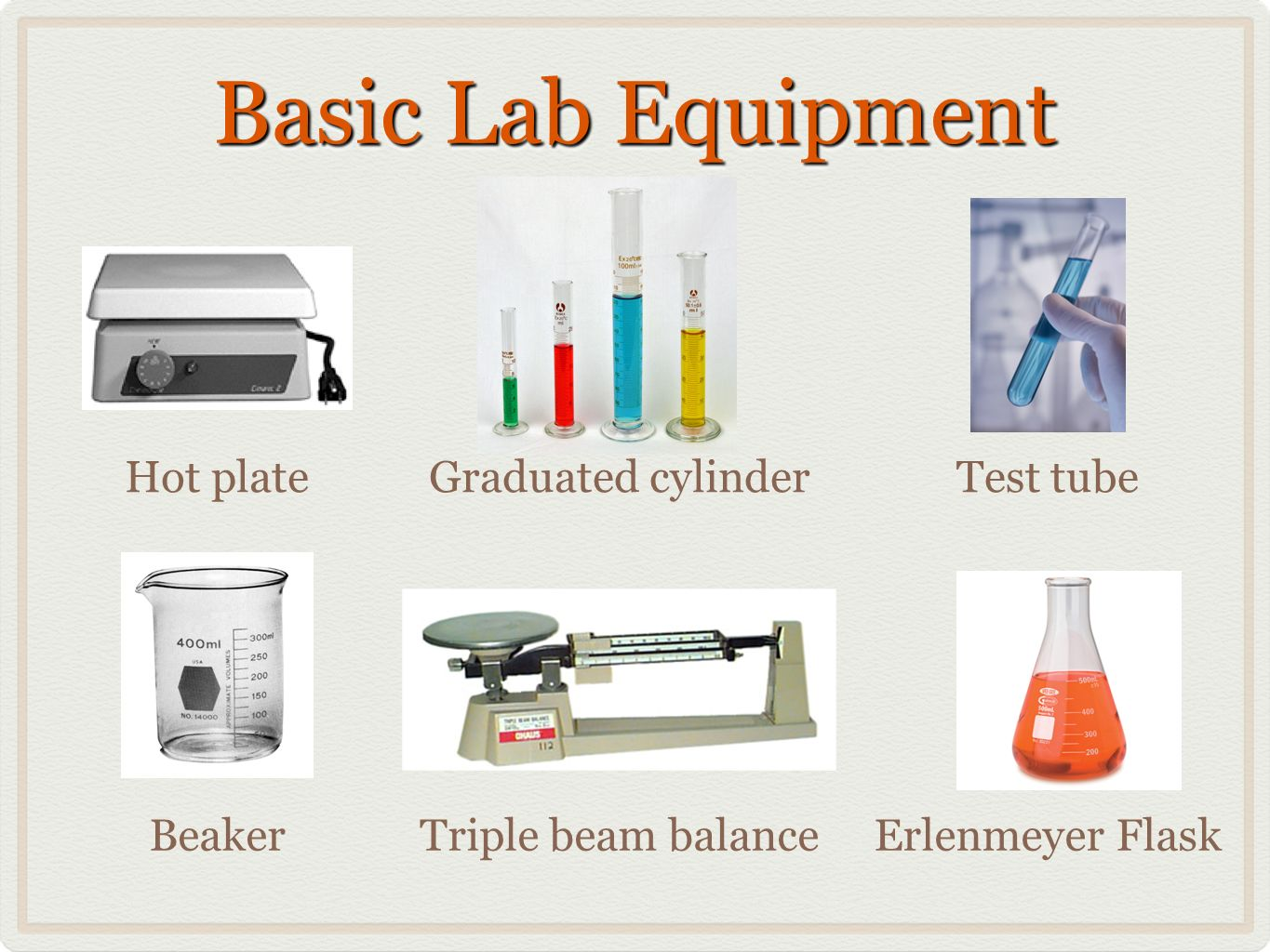 Basic Lab Equipment Beaker Graduated cylinderTest tubeHot plate Triple beam balanceErlenmeyer Flask