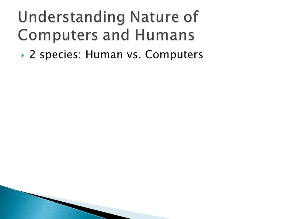 2 species: Human vs. Computers