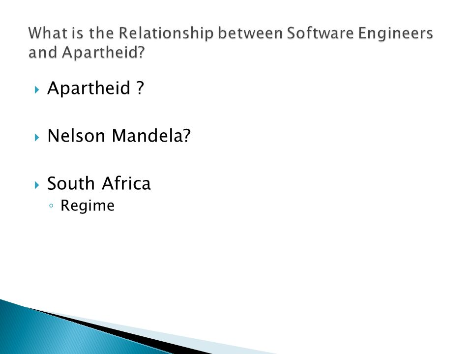 Apartheid ? Nelson Mandela? South Africa Regime