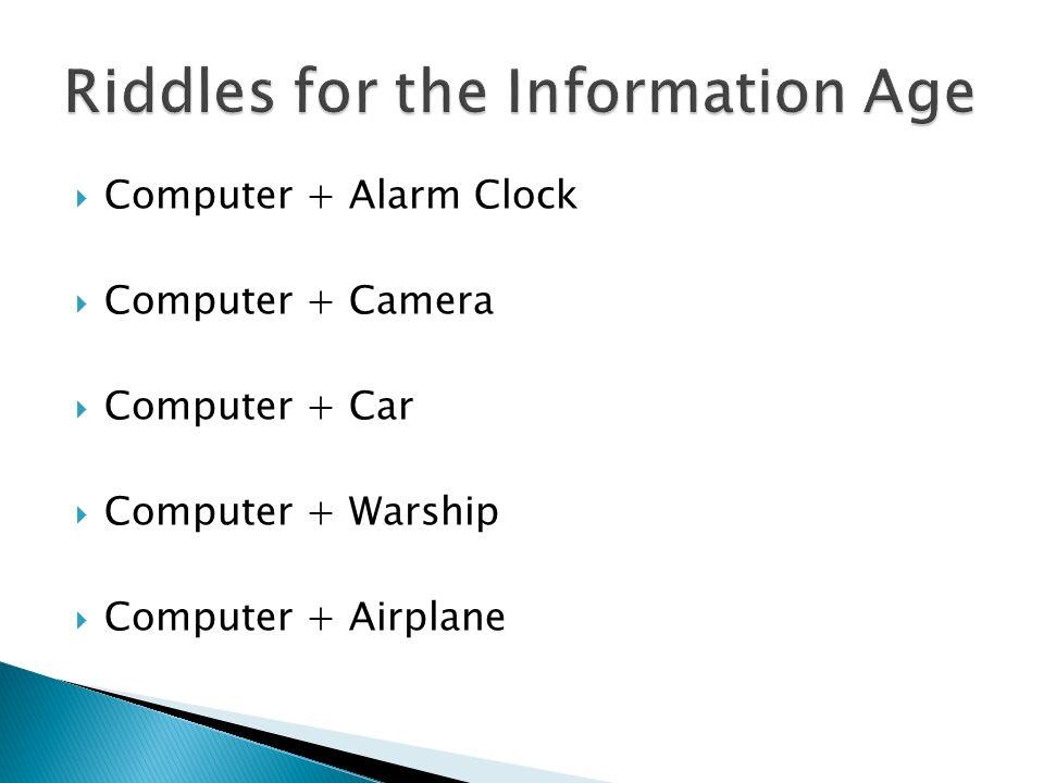 Computer + Alarm Clock Computer + Camera Computer + Car Computer + Warship Computer + Airplane