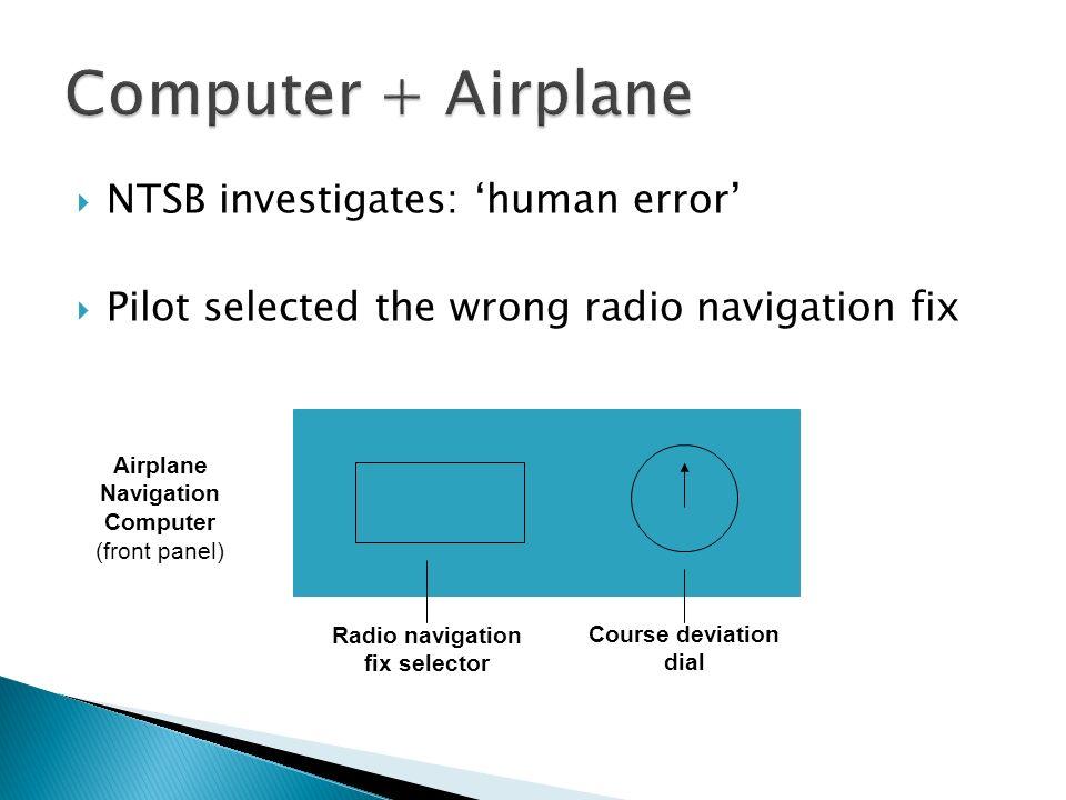 NTSB investigates: human error Pilot selected the wrong radio navigation fix Radio navigation fix selector Course deviation dial Airplane Navigation C