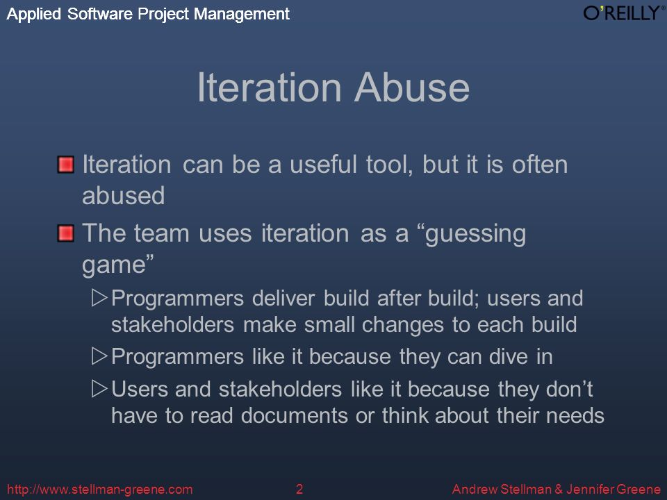 Applied Software Project Management Andrew Stellman & Jennifer Greene Applied Software Project Management http://www.stellman-greene.com3 Scope Creep After the programming has started, users and stakeholders make changes Each change is easy to describe, so it sounds small and the programmers agree to it Eventually, the project slows to a crawl Its 90% done – with 90% left to go The programmers know that if they had been told from the beginning what to build, they could have built it quickly from the start