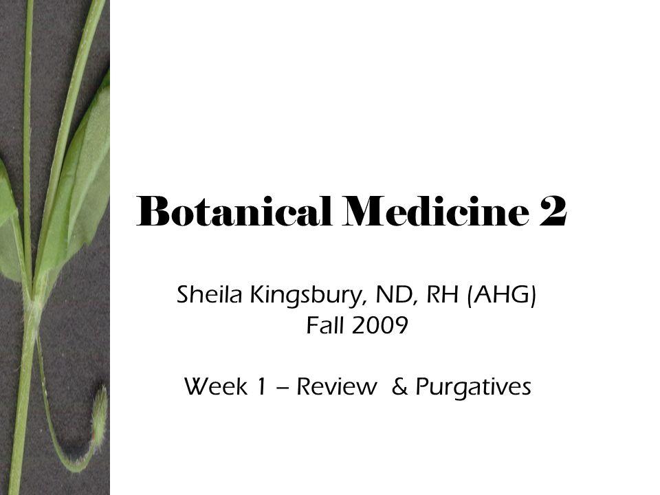 Botanical Medicine 2 Sheila Kingsbury, ND, RH (AHG) Fall 2009 Week 1 – Review & Purgatives