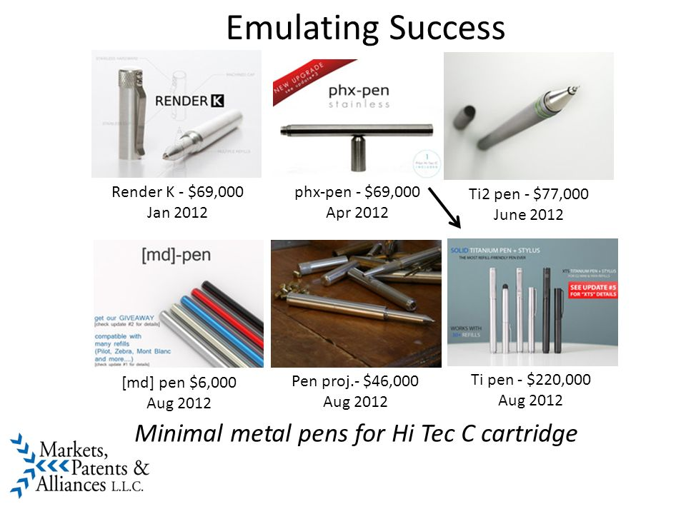 Emulating Success Ti2 pen - $77,000 June 2012 Render K - $69,000 Jan 2012 phx-pen - $69,000 Apr 2012 Ti pen - $220,000 Aug 2012 Pen proj.- $46,000 Aug 2012 [md] pen $6,000 Aug 2012 Minimal metal pens for Hi Tec C cartridge