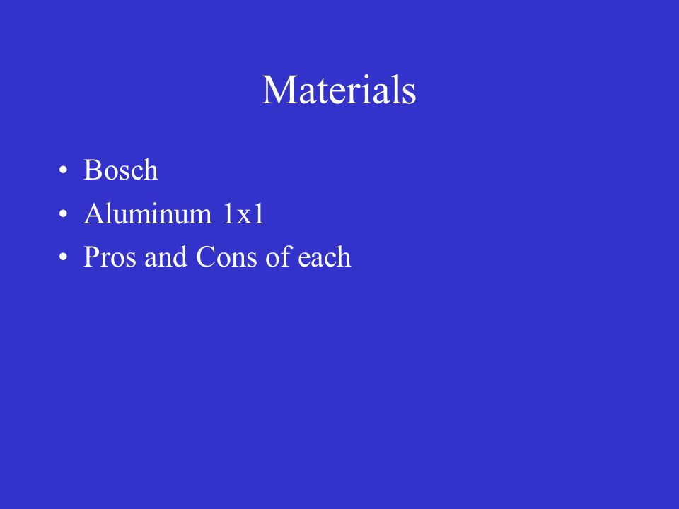 Materials Bosch Aluminum 1x1 Pros and Cons of each