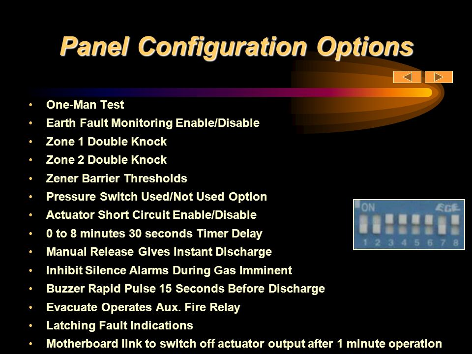 Panel Configuration Options One-Man Test Earth Fault Monitoring Enable/Disable Zone 1 Double Knock Zone 2 Double Knock Zener Barrier Thresholds Pressu