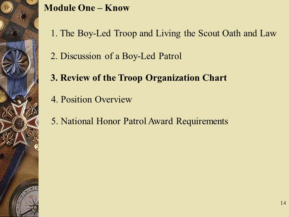Module One – Know 1. The Boy-Led Troop and Living the Scout Oath and Law 2. Discussion of a Boy-Led Patrol 3. Review of the Troop Organization Chart 4