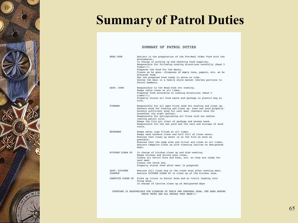 65 Summary of Patrol Duties