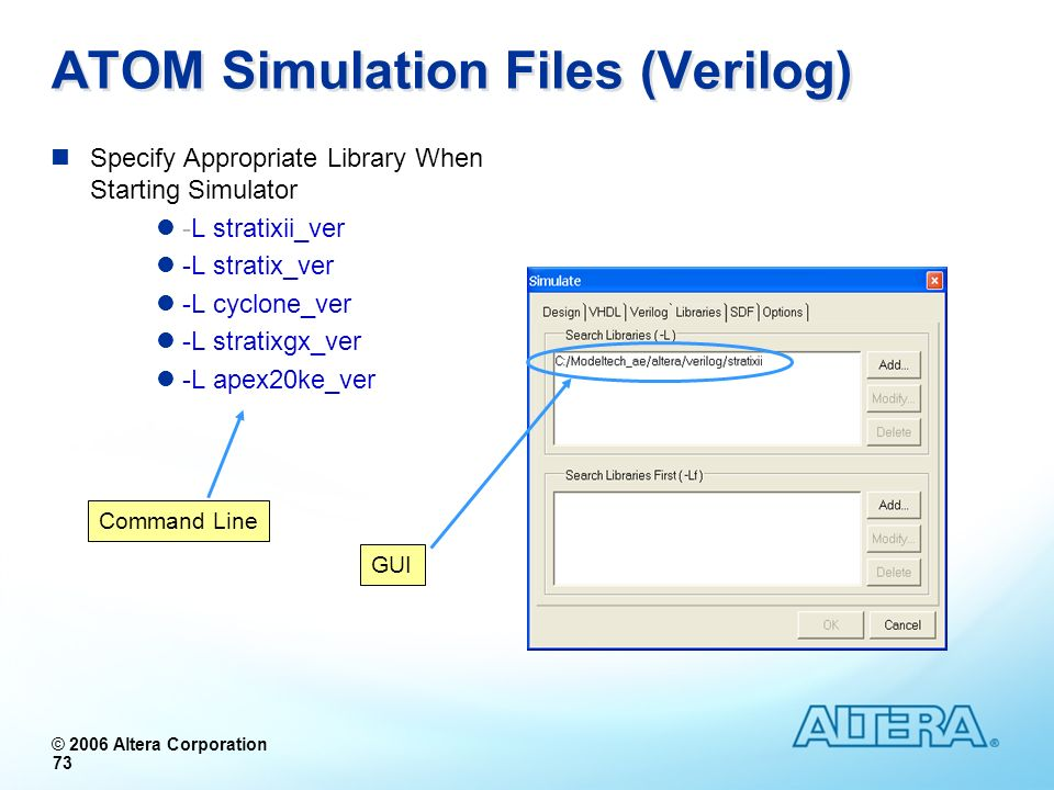© 2006 Altera Corporation 73 ATOM Simulation Files (Verilog) Specify Appropriate Library When Starting Simulator -L stratixii_ver -L stratix_ver -L cy