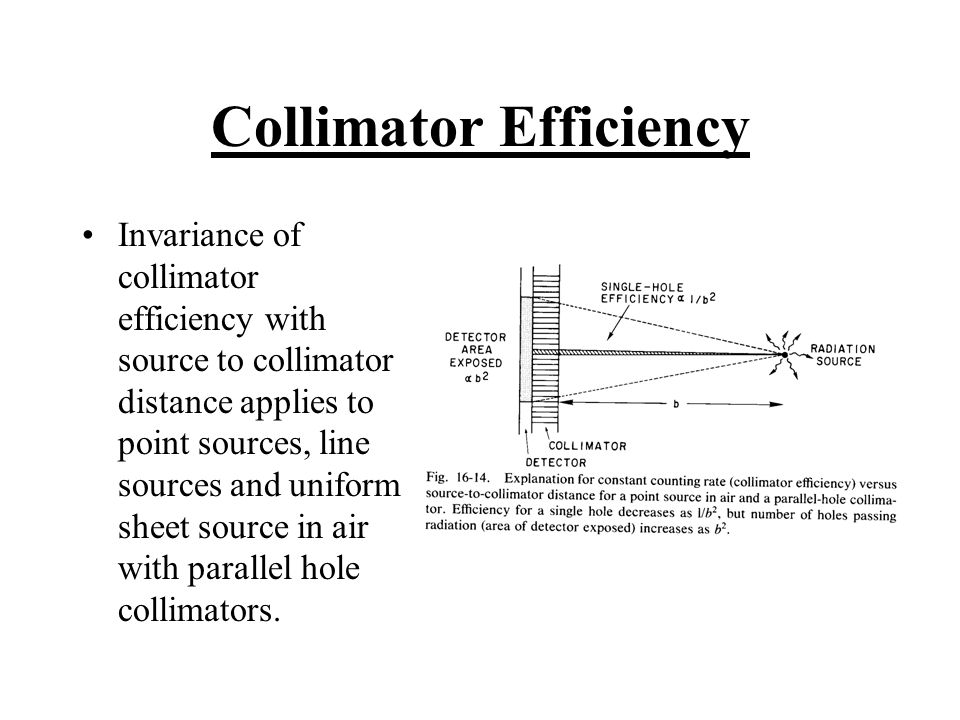 Collimator Efficiency Invariance of collimator efficiency with source to collimator distance applies to point sources, line sources and uniform sheet