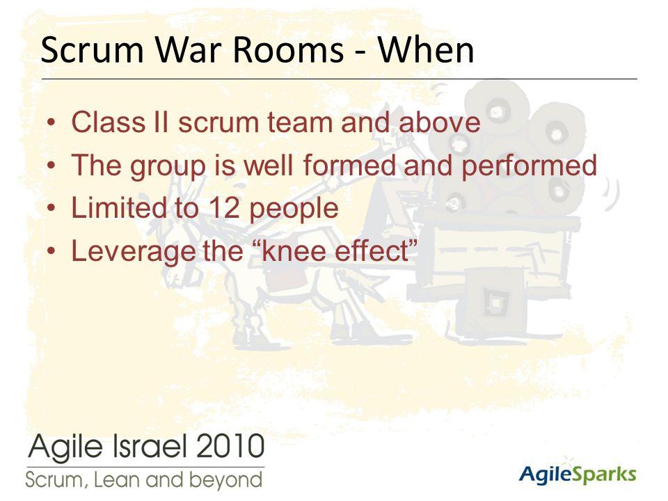 י א/שבט/תשע ד10 Class II scrum team and above The group is well formed and performed Limited to 12 people Leverage the knee effect Scrum War Rooms - When