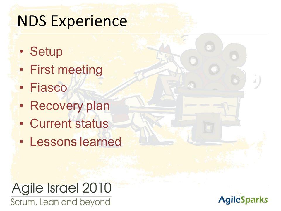 י א/שבט/תשע ד11 Setup First meeting Fiasco Recovery plan Current status Lessons learned NDS Experience