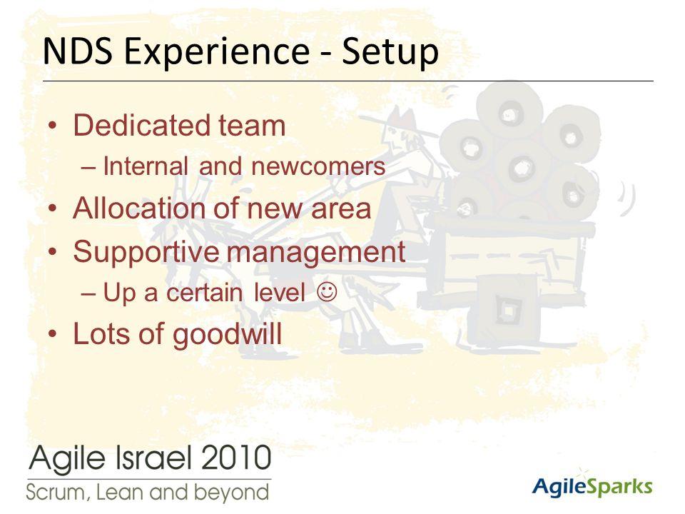 י א/שבט/תשע ד12 Dedicated team –Internal and newcomers Allocation of new area Supportive management –Up a certain level Lots of goodwill NDS Experience - Setup