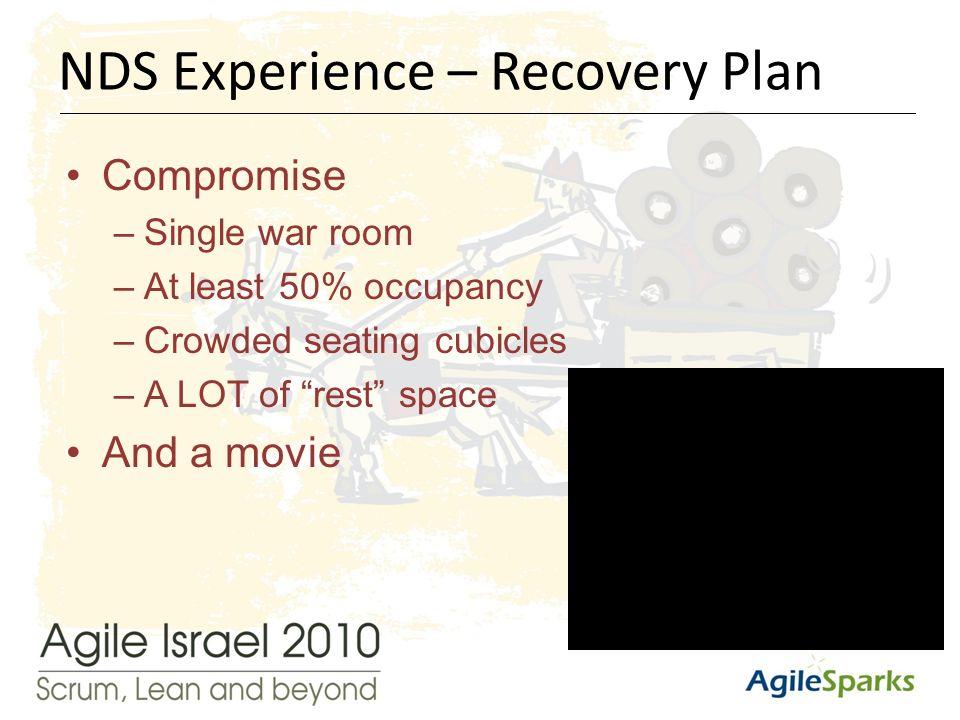 י א/שבט/תשע ד15 Compromise –Single war room –At least 50% occupancy –Crowded seating cubicles –A LOT of rest space And a movie NDS Experience – Recovery Plan