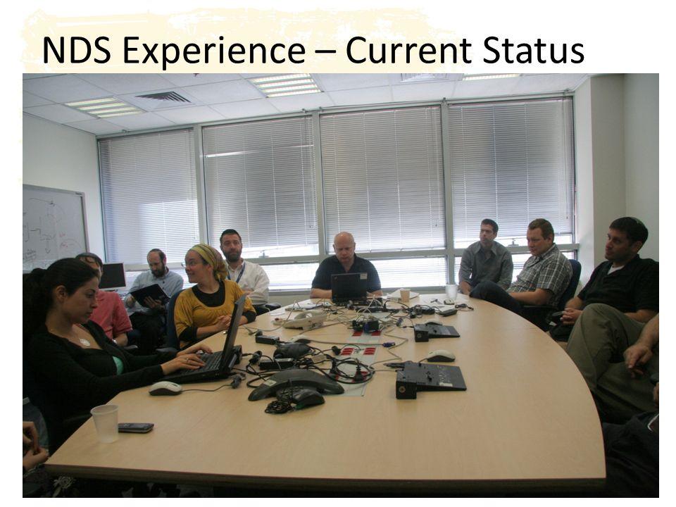 י א/שבט/תשע ד17 War room – mostly occupied Meeting rooms – not in use Waiting to get approval for second room Company-wide traction NDS Experience – Current Status
