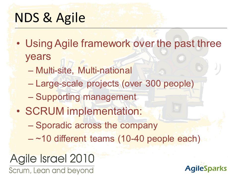 י א/שבט/תשע ד6 Using Agile framework over the past three years –Multi-site, Multi-national –Large-scale projects (over 300 people) –Supporting management SCRUM implementation: –Sporadic across the company –~10 different teams (10-40 people each) NDS & Agile