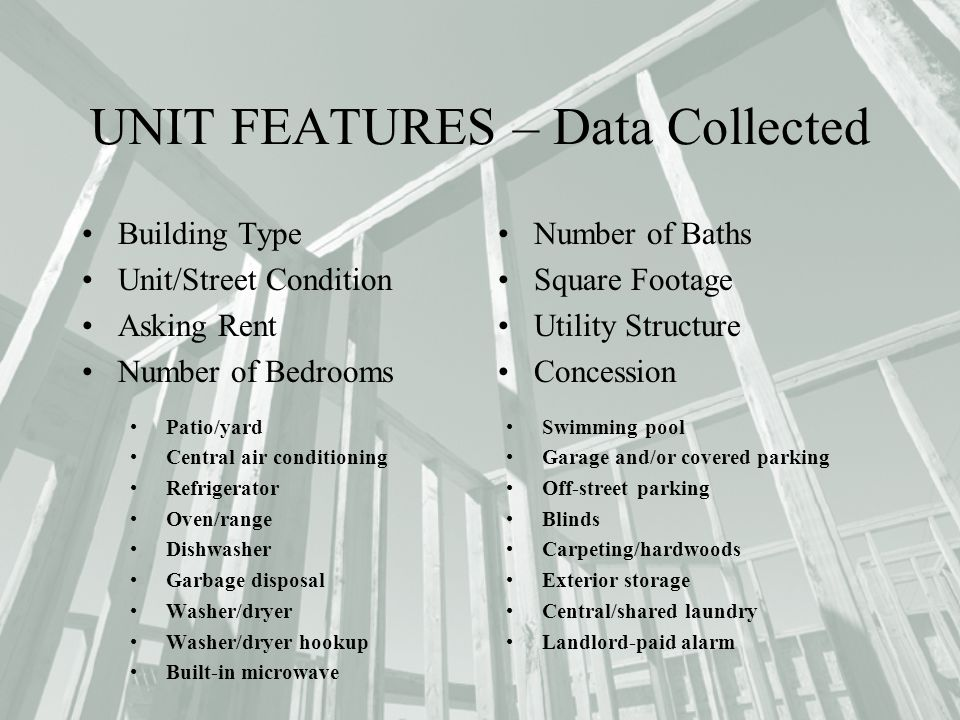 UNIT FEATURES – Data Collected Building Type Unit/Street Condition Asking Rent Number of Bedrooms Number of Baths Square Footage Utility Structure Con