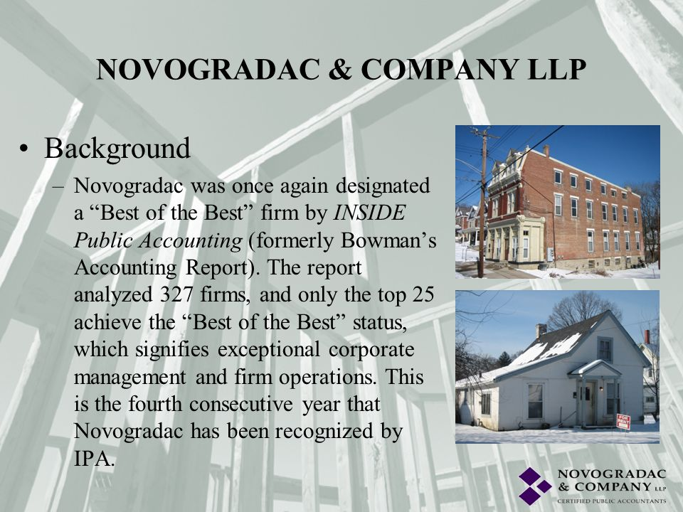 Background –Novogradac was once again designated a Best of the Best firm by INSIDE Public Accounting (formerly Bowmans Accounting Report). The report