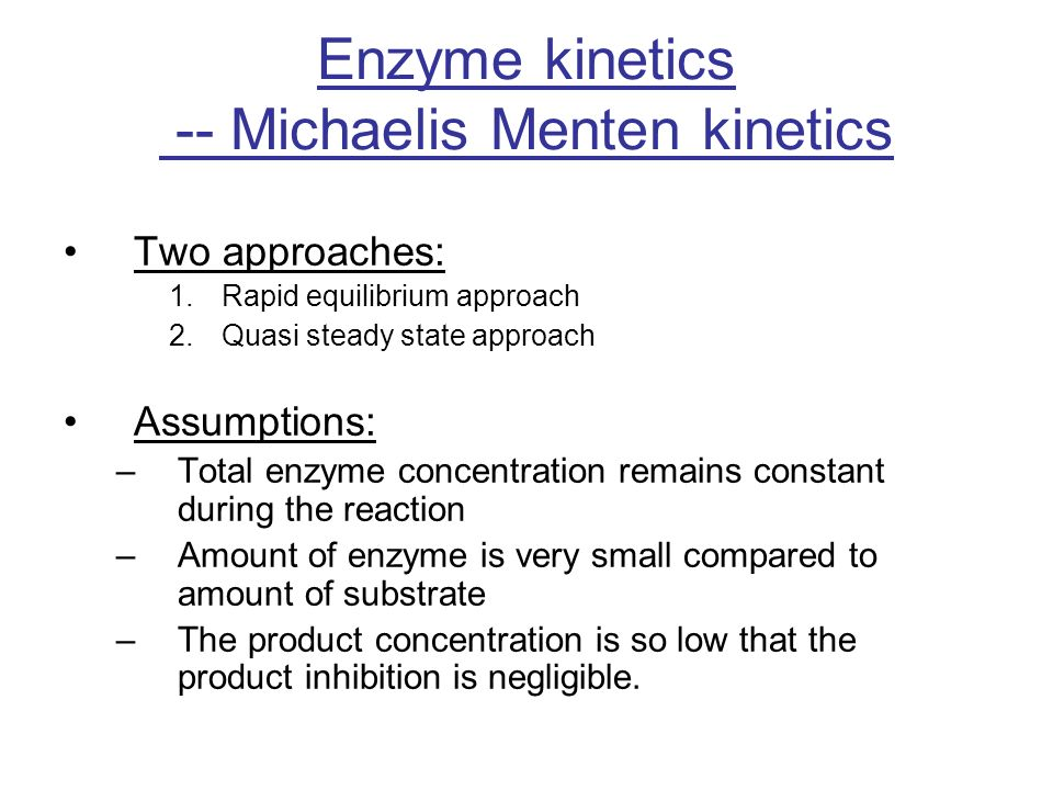enzyme kinetics example problems Enzyme kinetics studies the speed of the reactions catalyzed by enzymes these studies provide direct information about the mechanism of the enzyme kinetics - michaelis-menten kinetics: in 1913, linor michaslis (1875-1949) and maud menten (1879-1960) put forward the enzyme-substrate.