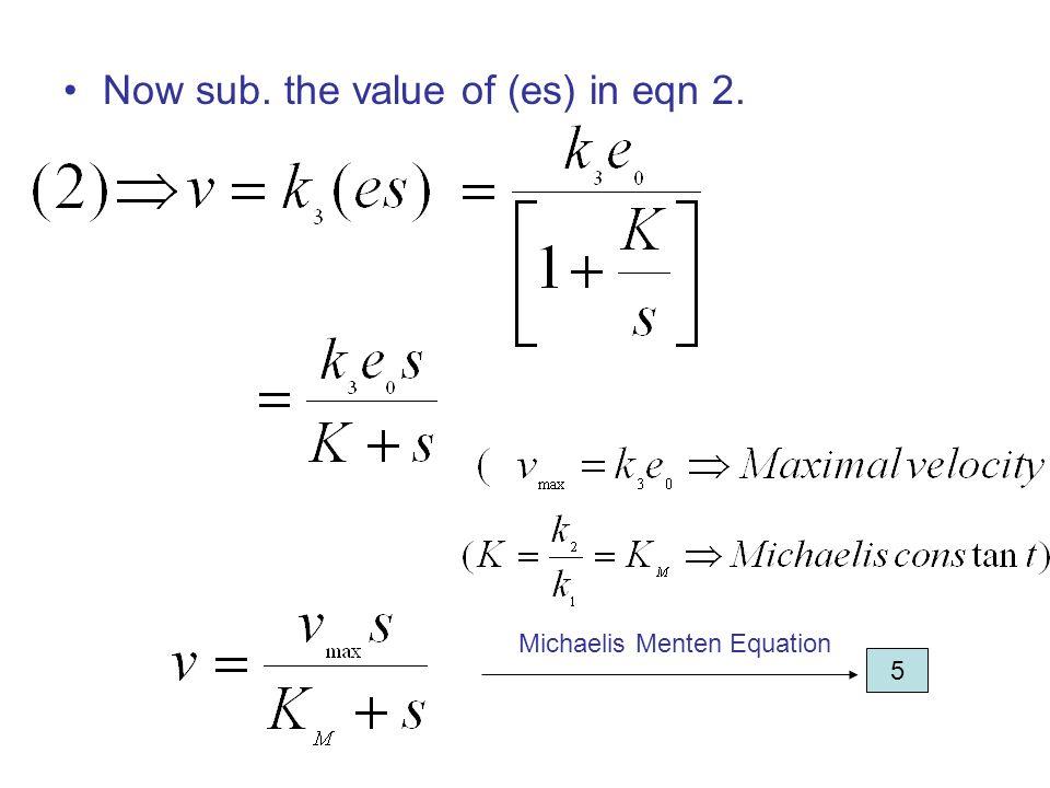 Now sub. the value of (es) in eqn 2. 5 Michaelis Menten Equation