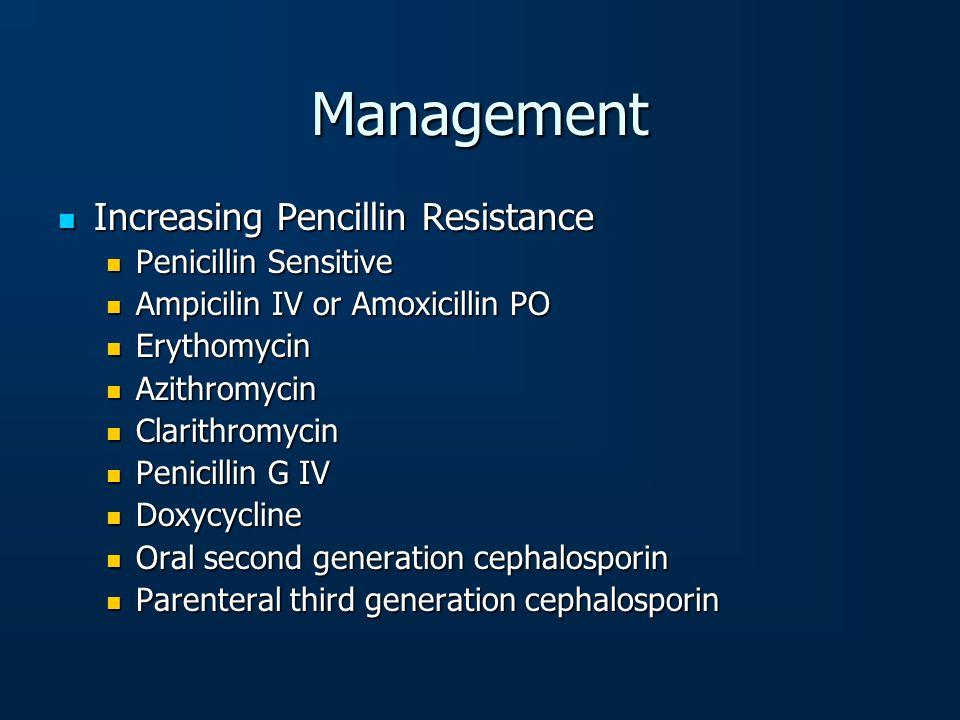 Increasing Pencillin Resistance Increasing Pencillin Resistance Penicillin Sensitive Penicillin Sensitive Ampicilin IV or Amoxicillin PO Ampicilin IV
