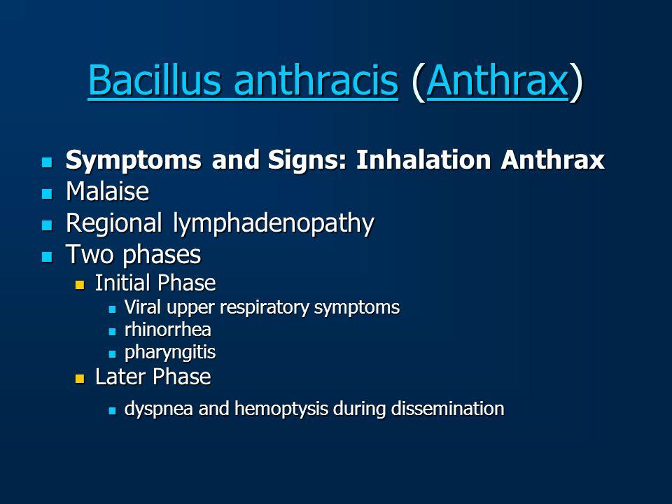 Bacillus anthracisBacillus anthracis (Anthrax) Anthrax Bacillus anthracisAnthrax Symptoms and Signs: Inhalation Anthrax Symptoms and Signs: Inhalation